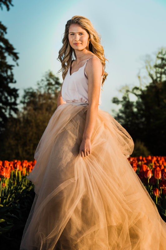Happy Valley photographer snaps a photo of high school senior in a long flowing dress